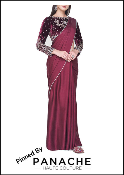 Maroon Color Satin Saree with Gotta Patti Blouse