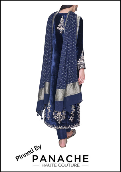 Blue Color Velvet Silk Salwar Kameez
