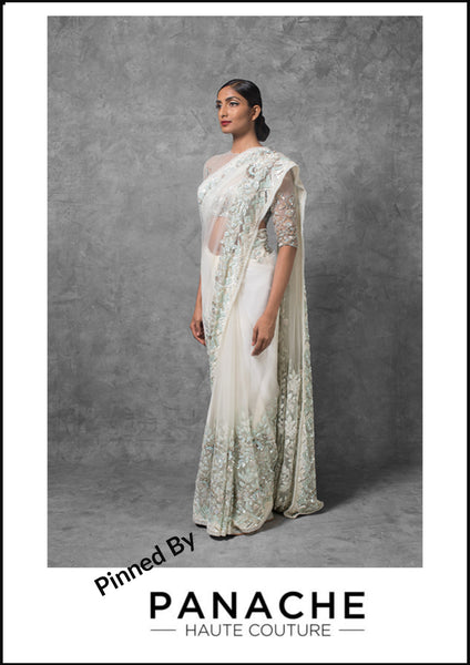 Ivory Color Saree with Baby Blue and Ivory Sequins and Thread Embroidery