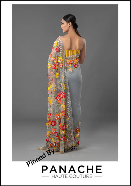 Grey Color Net Saree with Yellow and Red Thread Embroidery
