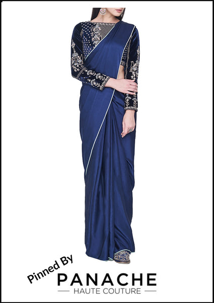 Navy Blue Color Satin Saree with Gotta Patti Blouse