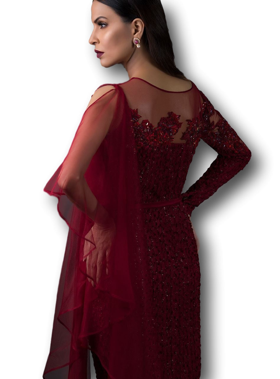 Red Maroon Color Straight Gown