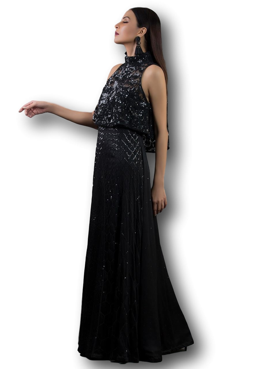 Black Color Straight Gown