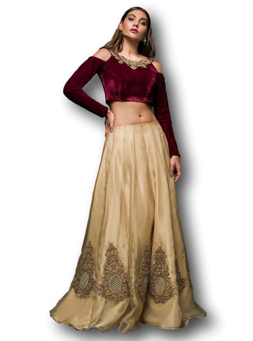 Beige Gold and Maroon Lehenga Choli