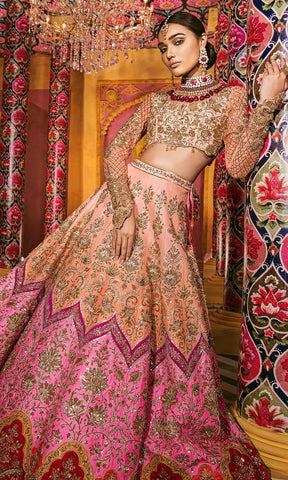 Pink and Peach Wedding Lehenga