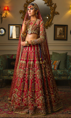 Deep Red Color Wedding Lehenga