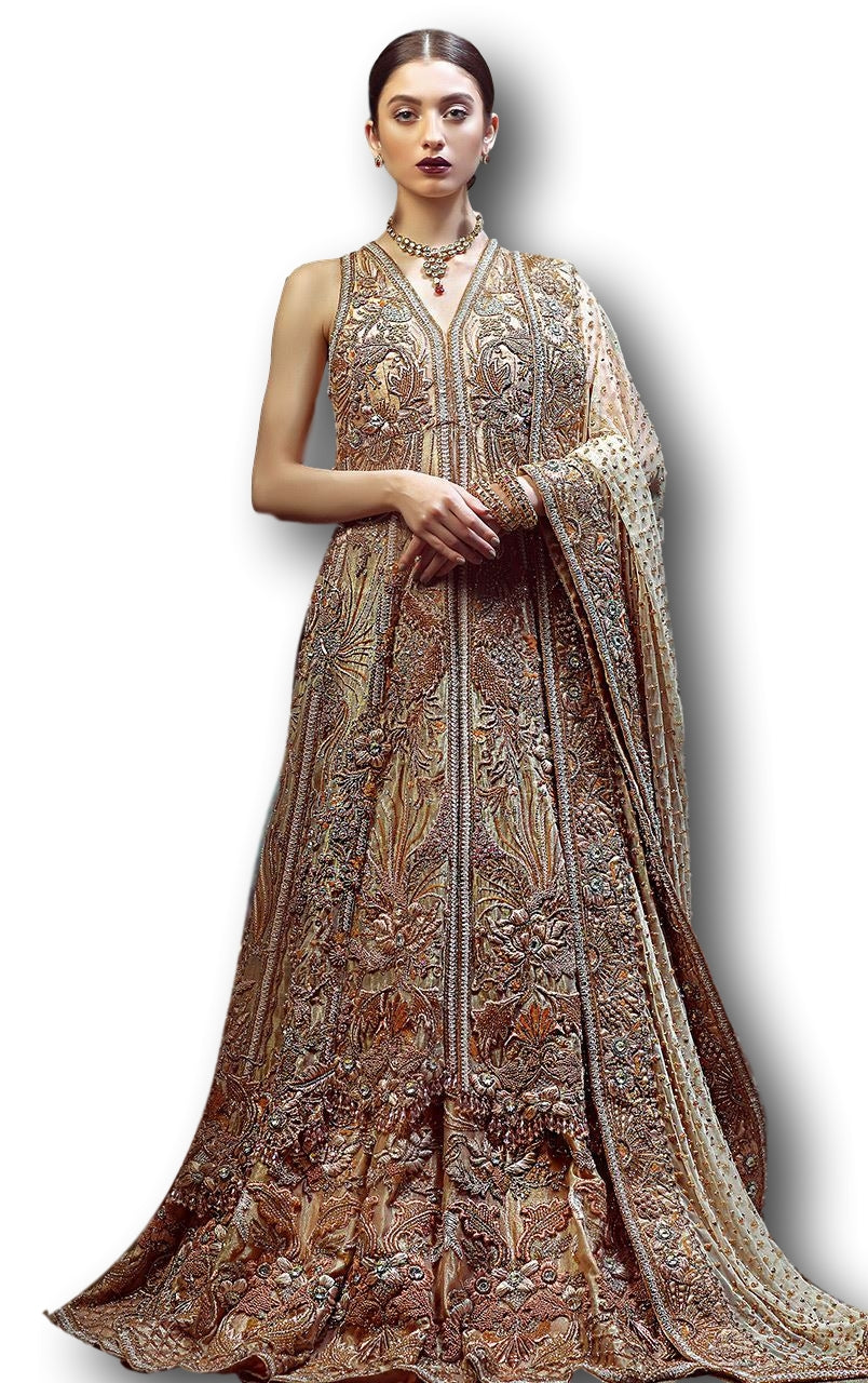 Rose Gold Color Wedding Jacket Lehenga
