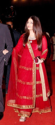 Aishwarya rai's red anarkali suit