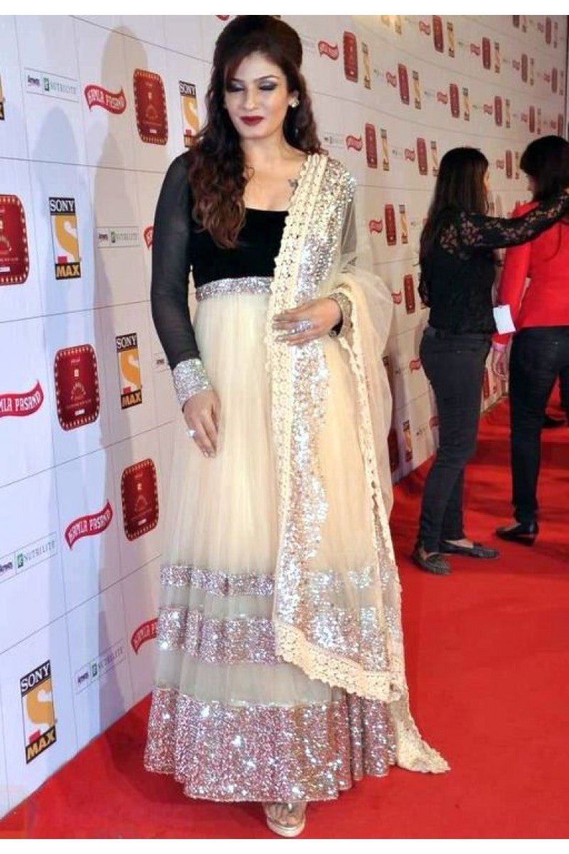 Ravina Tondon's white anarkali suit