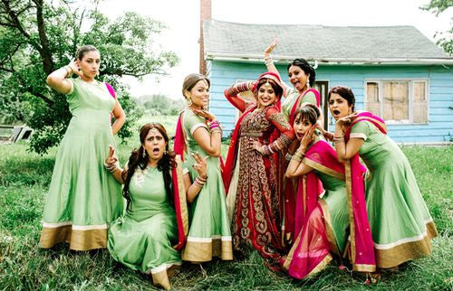 Bridemaids in green anarkali