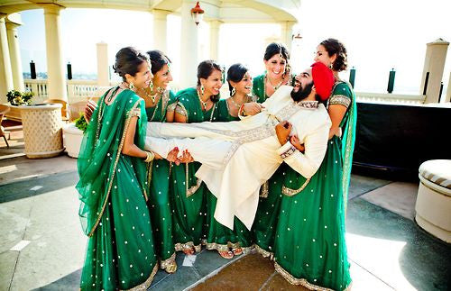 Bridemaids in Green suits