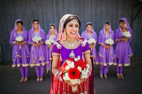 Bridemaids in purple suits