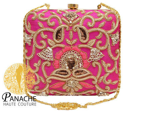 Hot Pink Color Clutch in Zardozi Embroidery