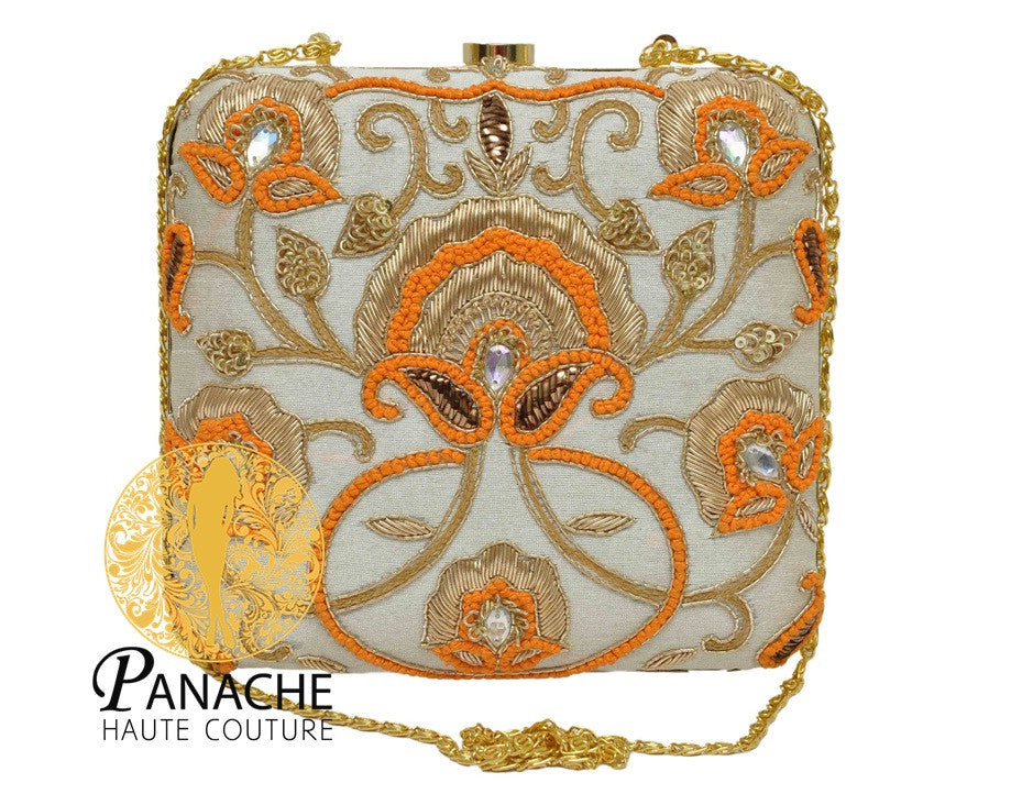 Offwhite Color Clutch in Zardozi Embroidery