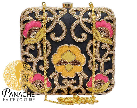 Zardozi Bridal Clutch in Black Color