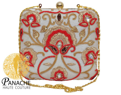 White Color Clutch in Zardozi Embroidery