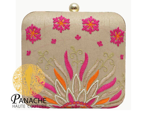 Fawn Color Clutch in Thread Embroidery