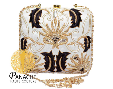 White Color Clutch in Black & Gold Embroidery