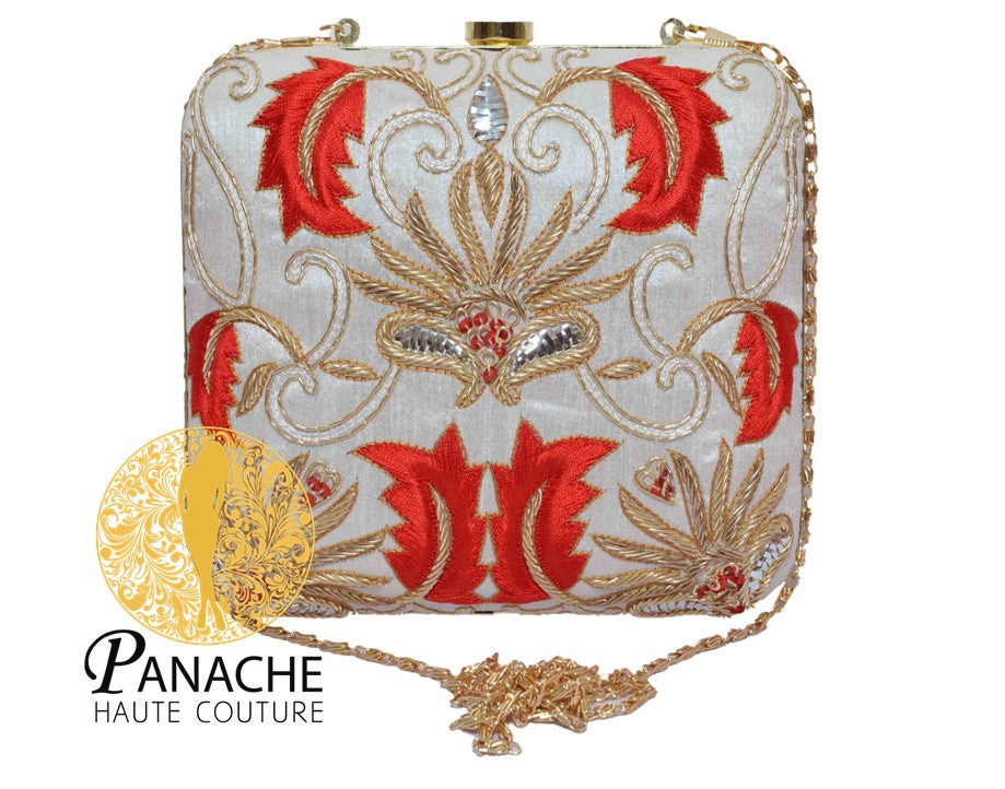 White Color Clutch in Red & Gold Embroidery