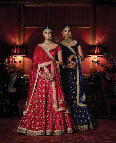 Silk Velvet Blue Color Wedding Lehenga
