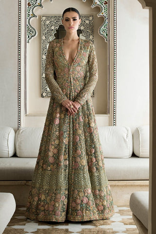 Mint Green Color Wedding Jacket Lehenga Set