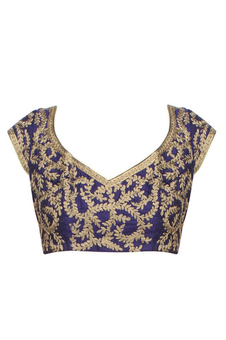 Purple colour embroidered blouse