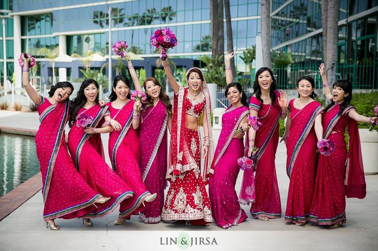 Bridemaids are in Rose color