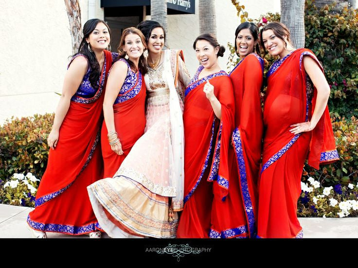 Bridemaids in red saree