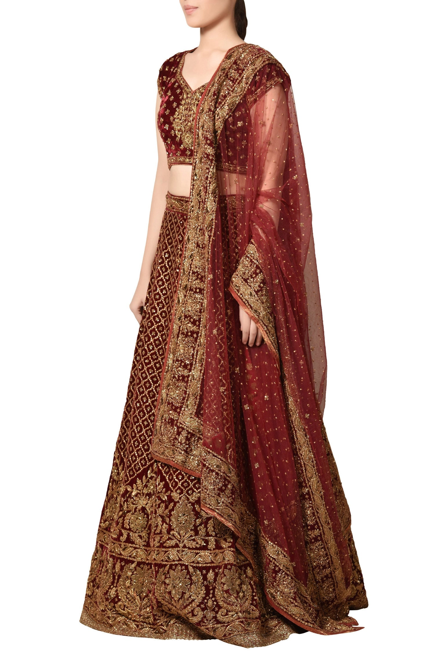 Burgandy Colour Wedding Lehenga