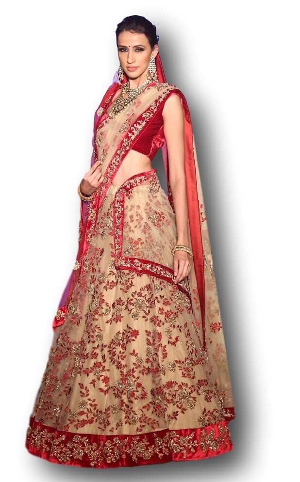 Gold Beige Color Wedding Lehenga Choli