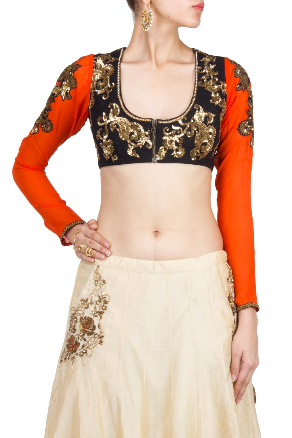 Orange and Black embroidered Blouse
