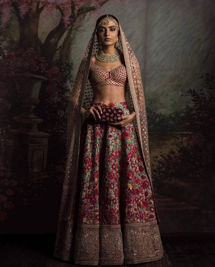 Floral Embroidered Wedding Lehenga