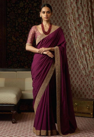 Purple Colour Silk Saree