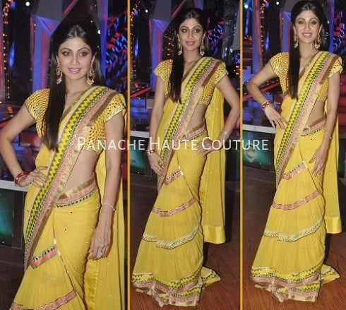 Shilpa Shetty in Yellow Color Designer Saree