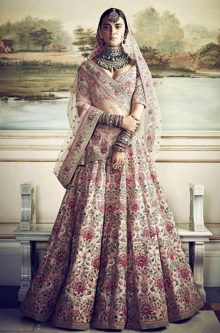Dusty Pink Color Wedding Lehenga Inspired by Anushka Sharma Wedding