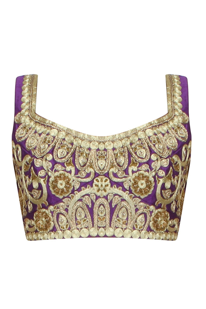 Purple color embroidered blouse in raw silk