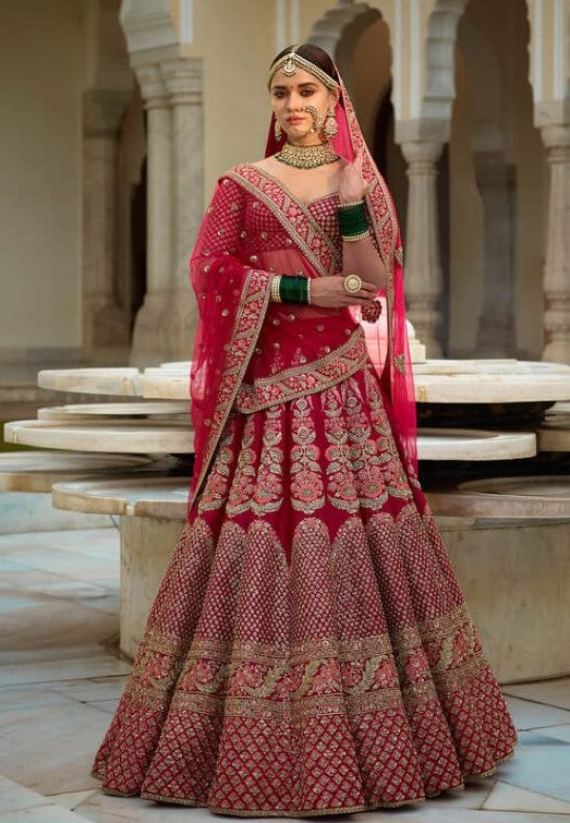 Sabyasachi Inspired Fuschia Pink Wedding Lehenga Choli
