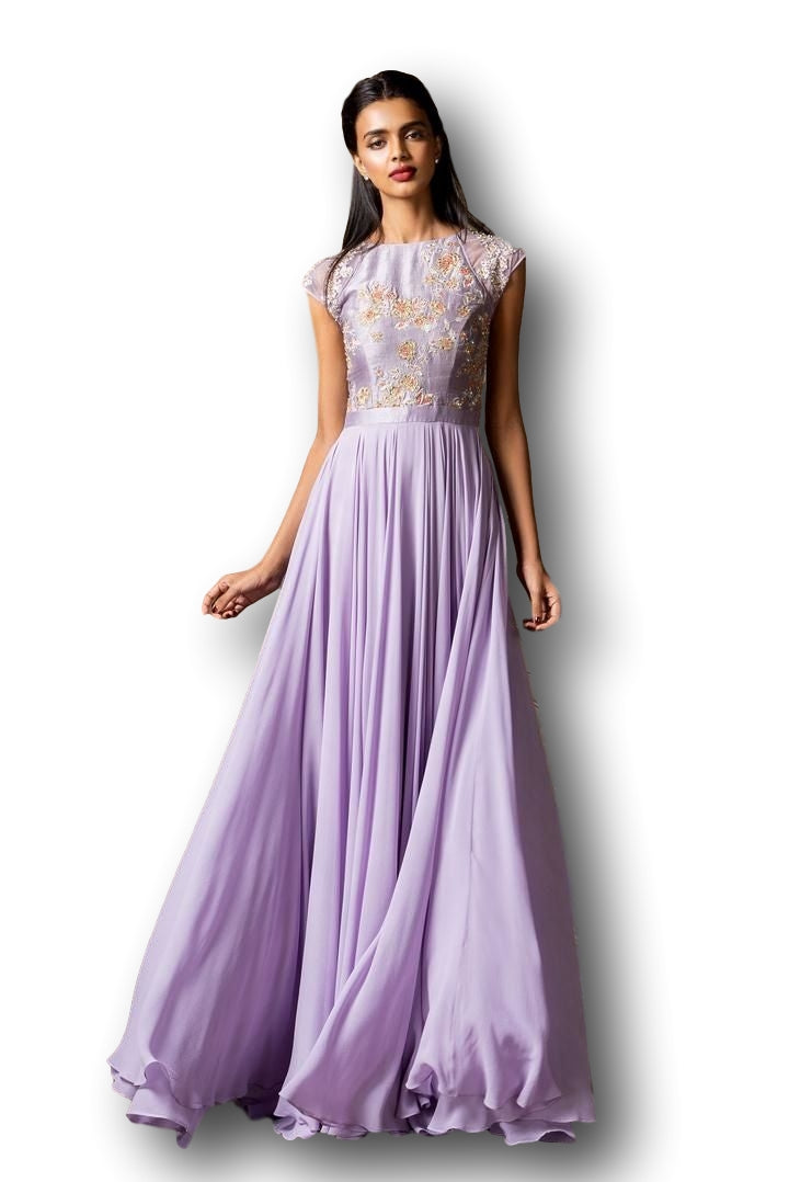 Lavender Color Straight Gown