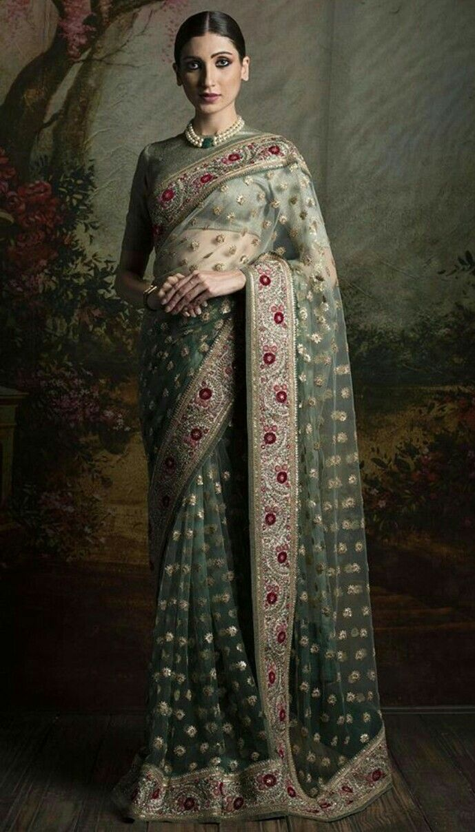 Mint Green Color Designer Saree