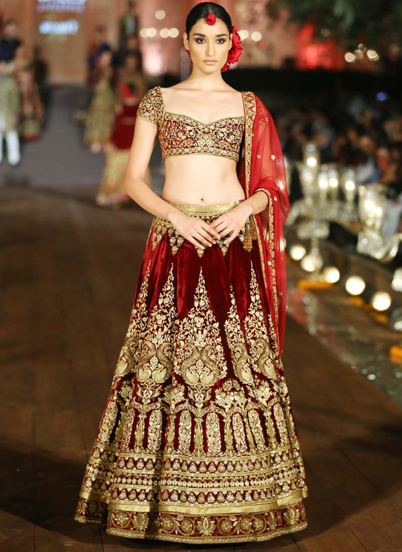 Maroon Color Wedding Lehenga in Velvet