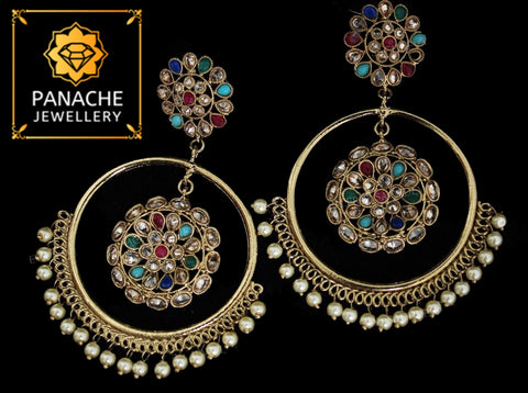 Kundan and Polki High Quality Multicolor Earrings