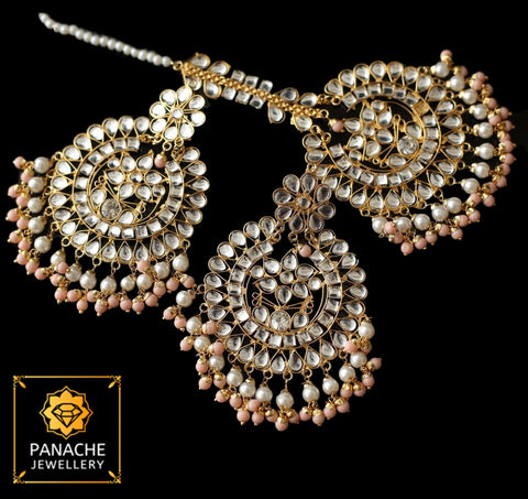 Kundan and Polki High Quality Earrings with Maangtikka