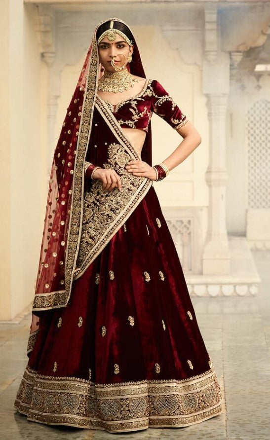 Sabyasachi Inspired Dark Burgundy Bridal Lehenga Set