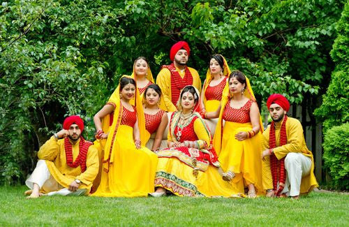 Bridemaids in Yellow color suits