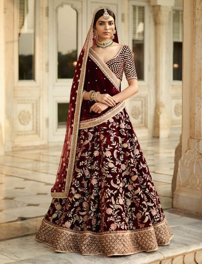 Sabyasachi Inspired Dark Burgandy Bridal Lehenga