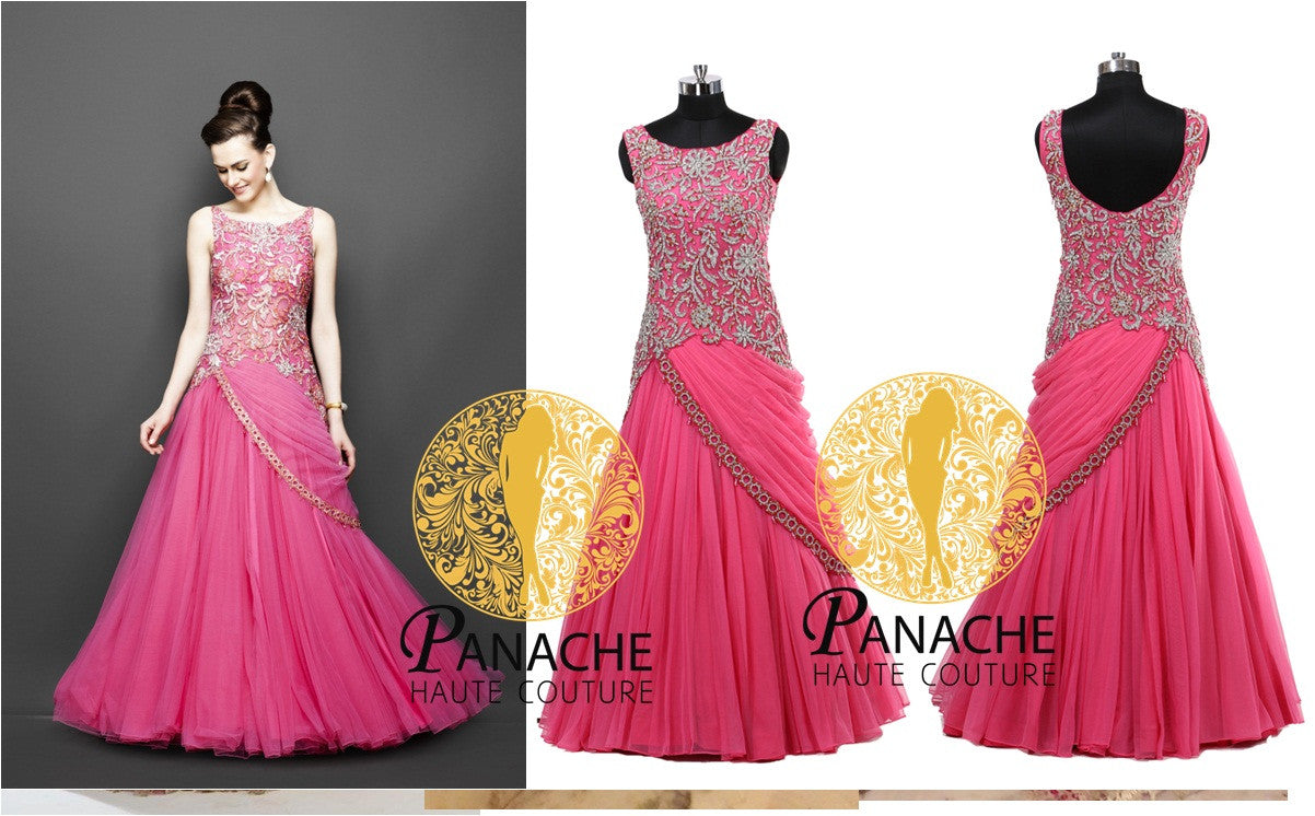 Pink color Indo Western bridal gown