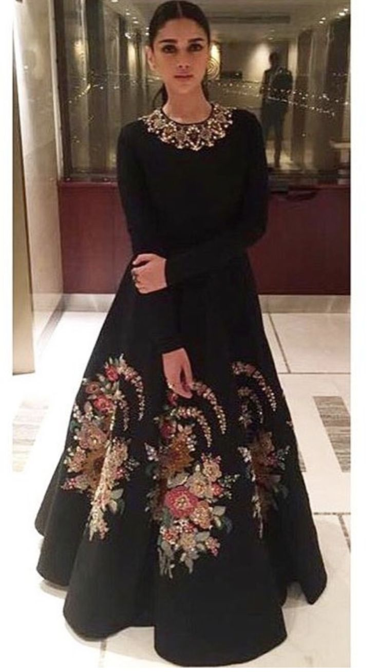 Sabyasachi Inspired Black Colour Gown with multi colour embroidery