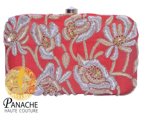 Red Color Clutch in Zardozi Embroidery