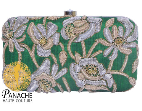 Green Color Clutch in Zardozi Embroidery