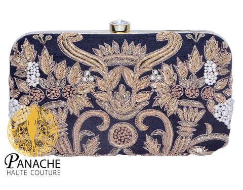 Black Color Clutch in Zardozi Embroidery